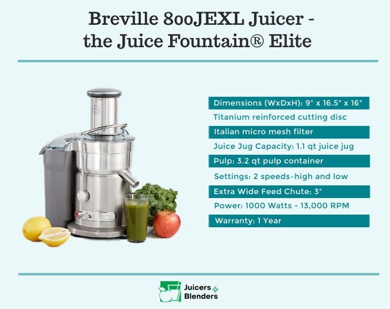 Breville 800JEXL Juicer Specsifications
