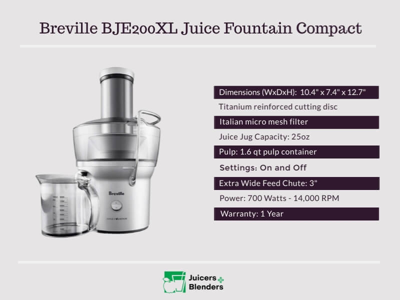 Breville BJE200XL Juice Fountain Compact Juicer Specifications